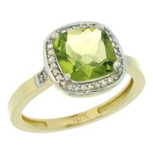Natural 3.94 ctw Peridot & Diamond Engagement Ring 14K Yellow Gold - SC#CY411151 - REF#W30N1