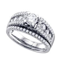 14K White Gold Jewelry 1.27 ctw Diamond Bridal Ring Set - GD#70301 - REF#W138N1