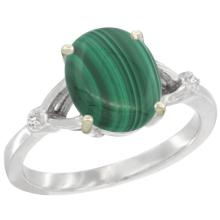 Natural 2.76 ctw Malachite & Diamond Engagement Ring 14K White Gold - SC#CW447112 - REF#R23F9