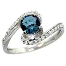 Natural 1.24 ctw london-blue-topaz & Diamond Engagement Ring 14K White Gold - SC#D312723W05 - REF#H39N8