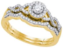 10K Yellow Gold Jewelry 0.40 ctw Diamond Bridal Ring Set - GD#91851 - REF#W39N7