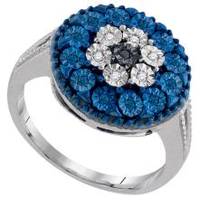 Fine Silver Jewelry 0.12 ctw White Diamond & Blue Diamond Ladies Ring - GD#88594 - REF#R6F6
