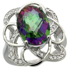 Natural 5.59 ctw mystic-topaz & Diamond Engagement Ring 14K White Gold - SC#R297191W08 - REF#H45N1