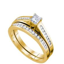14K Yellow Gold Jewelry 0.50 ctw Diamond Bridal Ring Set - GD#63666 - REF#U48K1