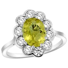 Natural 2.34 ctw Lemon-quartz & Diamond Engagement Ring 14K White Gold - SC#C319661W27 - REF#F61X1