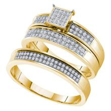 10K Yellow Gold Jewelry 0.33 ctw Diamond Trio Ring Set - GD#52642 - REF#K39M7