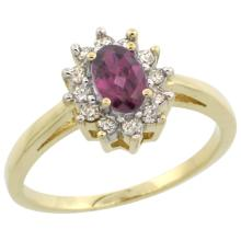 Natural 0.67 ctw Rhodolite & Diamond Engagement Ring 14K Yellow Gold - SC#CY423103 - REF#G36V6