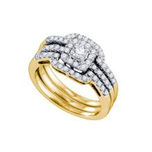 14K Yellow Gold Jewelry 0.68 ctw Diamond Bridal Ring Set - GD#73572 - REF#Y75H6