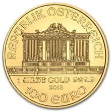 One 2013 Austria 1 oz Gold Philharmonic BU - WJA71279