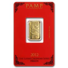 One 5 gram Gold Bar - Pamp Suisse Year of the Dragon (In Assay) - WJA74114