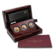 One 2015 Great Britain 3-Coin Gold Sovereign Proof Set 0.3849 oz total - WJA86712