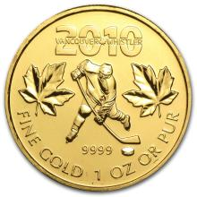 One 2010 Canada 1 oz Gold Maple Leaf BU (Vancouver Olympics) - WJA52886