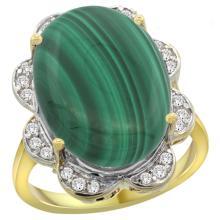 Natural 14.23 ctw malachite & Diamond Engagement Ring 14K Yellow Gold - SC#R308021Y47 - REF#M81U4