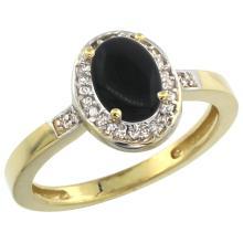 Natural 0.83 ctw Onyx & Diamond Engagement Ring 14K Yellow Gold - SC#CY417150 - REF#F22X9