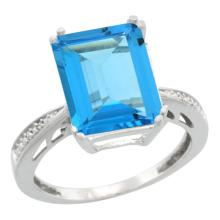 Natural 5.42 ctw Swiss-blue-topaz & Diamond Engagement Ring 14K White Gold - SC#CW404149 - REF#K46M8