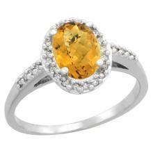Natural 1.3 ctw Whisky-quartz & Diamond Engagement Ring 10K White Gold - SC#CW926137 - REF#Y19H2