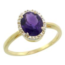Natural 1.22 ctw Amethyst & Diamond Engagement Ring 14K Yellow Gold - SC#CY401101 - REF#F20X4