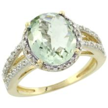 Natural 3.47 ctw Green-amethyst & Diamond Engagement Ring 10K Yellow Gold - SC#CY902106 - REF#Z26W2