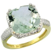 Natural 5.96 ctw Green-amethyst & Diamond Engagement Ring 14K Yellow Gold - SC#CY402145 - REF#V32T1