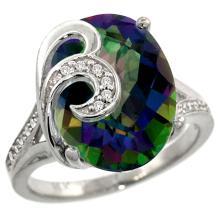 Natural 11.18 ctw mystic-topaz & Diamond Engagement Ring 14K White Gold - SC#R292651W08 - REF#G62V2