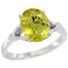 Natural 2.41 ctw Lemon-quartz & Diamond Engagement Ring 14K White Gold - SC#CW427112 - REF#G25V1