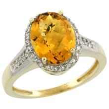Natural 2.49 ctw Whisky-quartz & Diamond Engagement Ring 14K Yellow Gold - SC#CY426109 - REF#W31N1