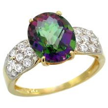 Natural 2.75 ctw mystic-topaz & Diamond Engagement Ring 14K Yellow Gold - SC#R289771Y08 - REF#Y44H2