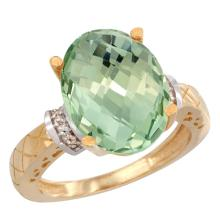 Natural 5.53 ctw Green-amethyst & Diamond Engagement Ring 10K Yellow Gold - SC#CY902200 - REF#N33Y7