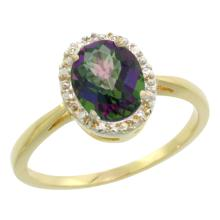 Natural 1.22 ctw Mystic-topaz & Diamond Engagement Ring 10K Yellow Gold - SC#CY908101 - REF#M15U2