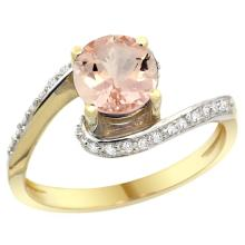 Natural 0.94 ctw morganite & Diamond Engagement Ring 10K Yellow Gold - SC#10D312723Y13 - REF#Y34H9