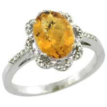 Natural 1.85 ctw Whisky-quartz & Diamond Engagement Ring 14K White Gold - SC#CW426105 - REF#H28N7