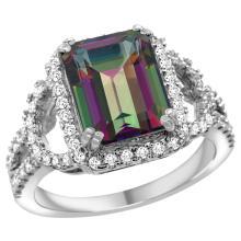 Natural 3.08 ctw mystic-topaz & Diamond Engagement Ring 14K White Gold - SC#R292071W08 - REF#V80T3
