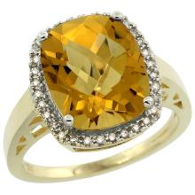 Natural 5.28 ctw Whisky-quartz & Diamond Engagement Ring 14K Yellow Gold - SC#CY426124 - REF#N38Y8