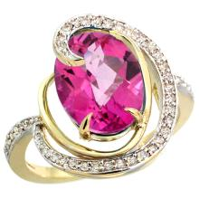 Natural 6.53 ctw pink-topaz & Diamond Engagement Ring 14K Yellow Gold - SC#R289231Y06 - REF#V55T1