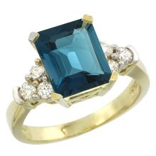 Natural 2.86 ctw london-blue-topaz & Diamond Engagement Ring 10K Yellow Gold - SC#CY905167 - REF#H41N1