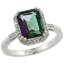 Natural 2.63 ctw Mystic-topaz & Diamond Engagement Ring 14K White Gold - SC#CW408122 - REF#Y32H3