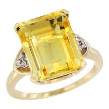 Natural 5.44 ctw citrine & Diamond Engagement Ring 14K Yellow Gold - SC#CY409177 - REF#G34V4
