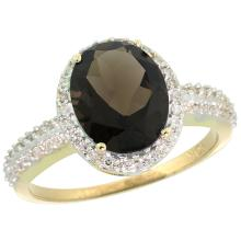 Natural 2.56 ctw Smoky-topaz & Diamond Engagement Ring 14K Yellow Gold - SC#CY407138 - REF#T31G7