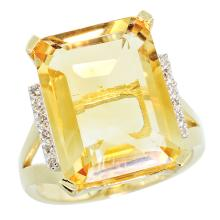 Natural 12.13 ctw Citrine & Diamond Engagement Ring 10K Yellow Gold - SC#CY909143 - REF#Y42H2