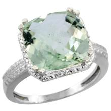Natural 5.96 ctw Green-amethyst & Diamond Engagement Ring 10K White Gold - SC#CW902145 - REF#T24G4