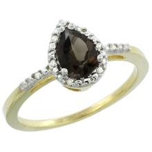 Natural 1.53 ctw smoky-topaz & Diamond Engagement Ring 10K Yellow Gold - SC#CY907152 - REF#H14N3