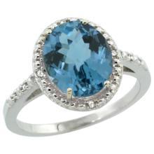 Natural 2.42 ctw London-blue-topaz & Diamond Engagement Ring 14K White Gold - SC#CW405111 - REF#G26V8