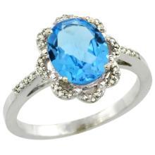 Natural 1.85 ctw Swiss-blue-topaz & Diamond Engagement Ring 14K White Gold - SC#CW404105 - REF#G29V2