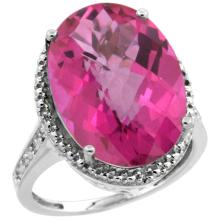 Natural 13.6 ctw Pink-topaz & Diamond Engagement Ring 10K White Gold - SC#CW906108 - REF#Y44H8
