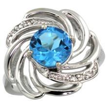 Natural 2.25 ctw swiss-blue-topaz & Diamond Engagement Ring 14K White Gold - SC#R297241W04 - REF#R43F7
