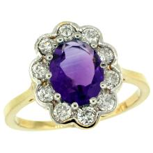 Natural 2.34 ctw Amethyst & Diamond Engagement Ring 10K Yellow Gold - SC#10C319661Y01 - REF#X52R8