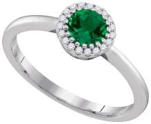 14K White Gold Jewelry 0.77 ctw Emerald & Diamond Ladies Ring - GD#95339 - REF#K36M1