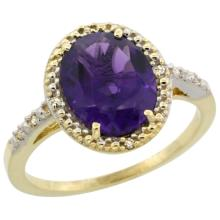 Natural 2.42 ctw Amethyst & Diamond Engagement Ring 14K Yellow Gold - SC#CY401111 - REF#Z26W2
