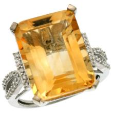 Natural 12.14 ctw Citrine & Diamond Engagement Ring 10K White Gold - SC#CW909134 - REF#Y40H1