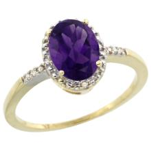 Natural 1.2 ctw Amethyst & Diamond Engagement Ring 10K Yellow Gold - SC#CY901113 - REF#G12V8
